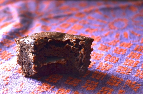 Dark Chocolate Brownies with York Peppermint Patties | Pale Yellow