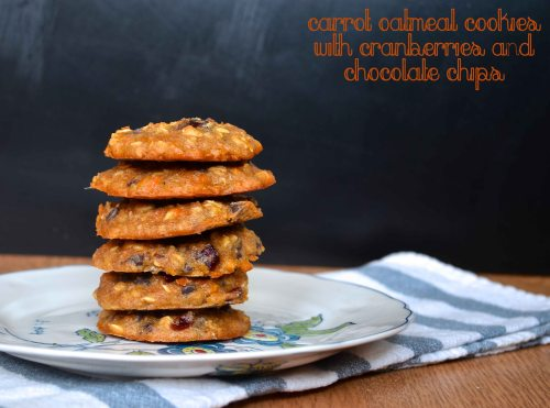 carrot oatmeal cookies with cranberries and chocolate chips | pale yellow