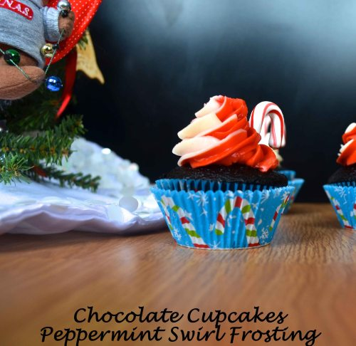 chocolate cupcakes with peppermint swirl frosting | pale yellow
