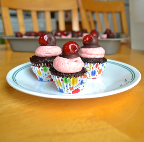 Chocolate Covered Cherry Mini Cupcakes | Pale Yellow