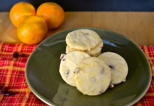 tangerine cranberry shortbread cookies | pale yellow
